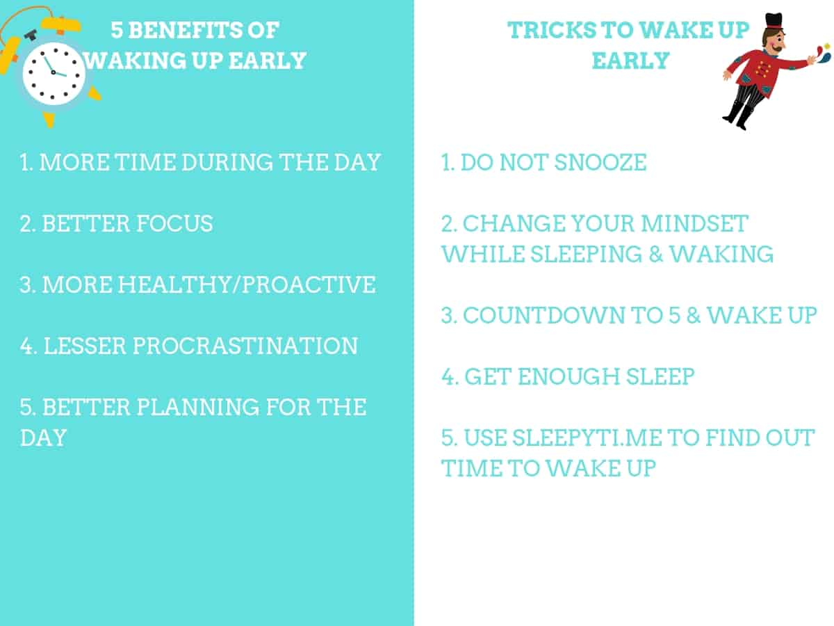 Benefits and tricks to wake up early